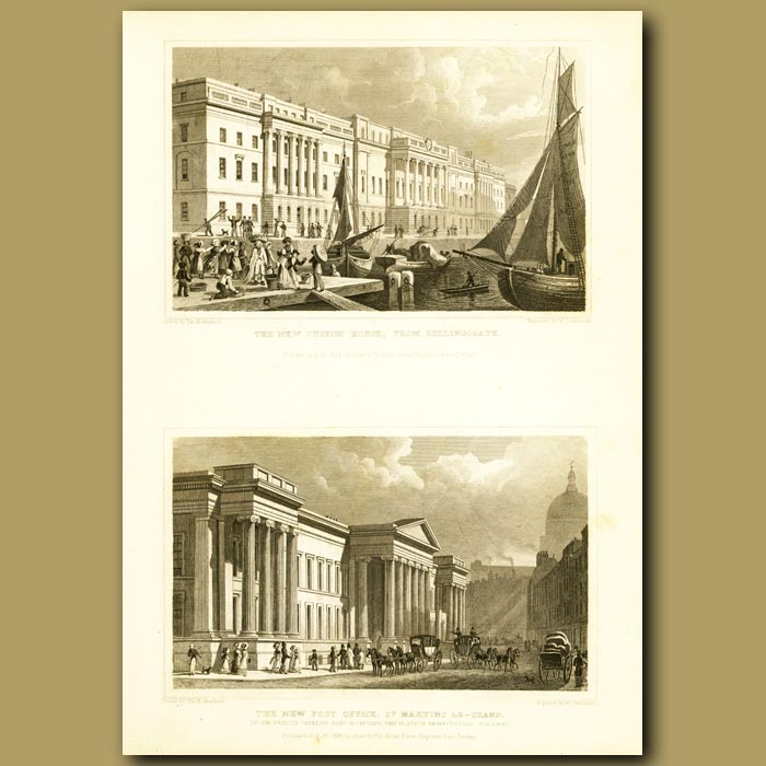 Antique print. The New Custom House From Billingsgate And The New Post Office, St.Martin's Le-Grand