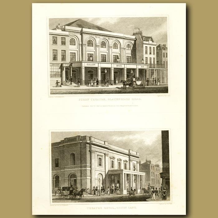 Antique print. Surry Theatre, Blackfriars Road And Theatre Royal, Drury Lane