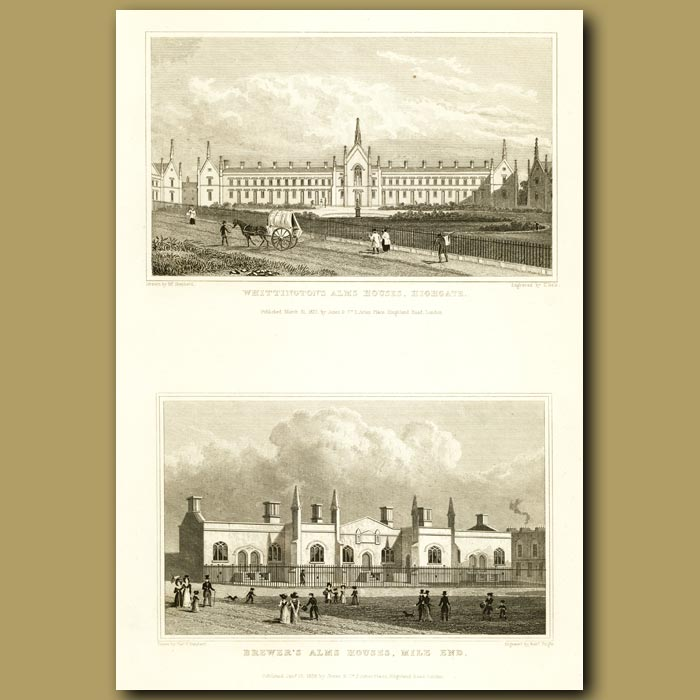 Antique print. Whittington's Alms Houses, Highgate And Brewer's Alms Houses, Mile End