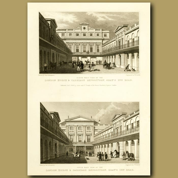 Antique print. London Horse And Carriage Repository, Gray's Inn Road