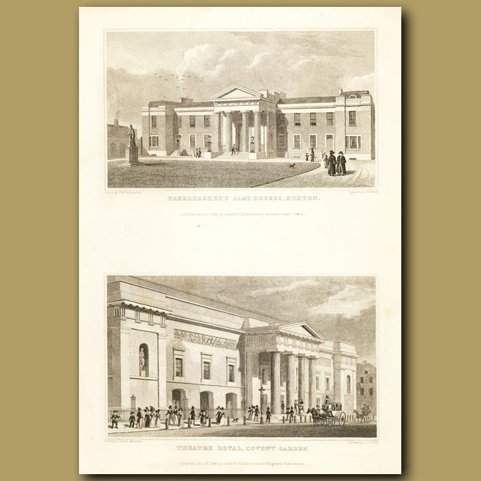 Antique print. Haberdasher's Alms Houses, Hoxton And Theatre Royal, Covent Garden