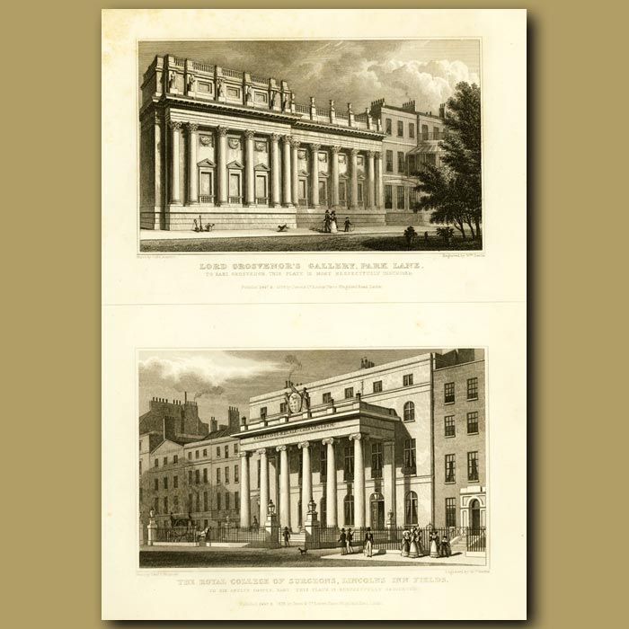 Antique print. Lord Grosvenor's Gallery, Park Lane And The Royal College Of Surgeon's, Lincolns Inn Fields