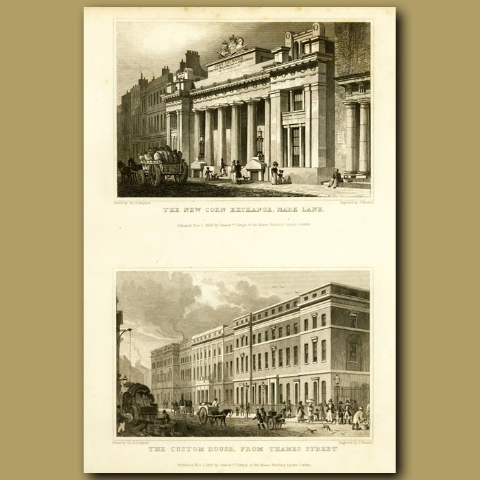 Antique print. The Corn Exchange, Mark Lane And The Custom House From Thames Street