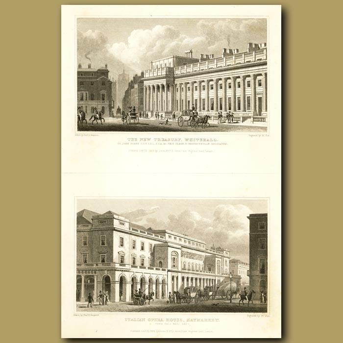 Antique print. The New Treasury, Whitehall And Italian Opera House, Haymarket