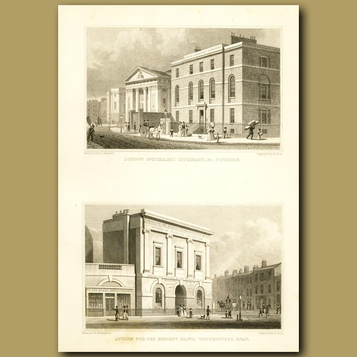 Antique print. London Ophthalmic Infirmary, Finsbury And Asylum For The Indigent Blind, Westminster Road