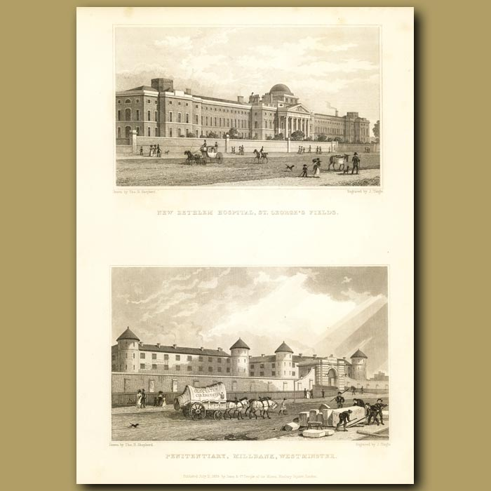 Antique print. New Bethlem Hospital, St.George's Fields And Penitentiary, Millbank, Westminster