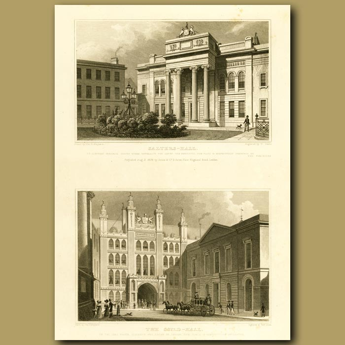 Antique print. Salters Hall And The Guild Hall