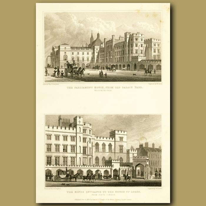 Antique print. The Parliament House From The Old Palace Yard And The King's Entrance To The House Of Lords