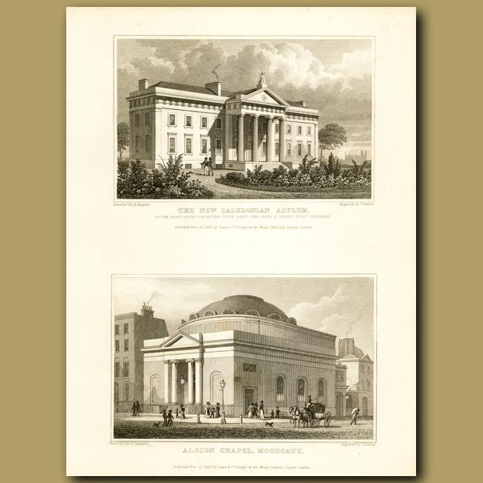 Antique print. The New Caledonian Asylum And Albion Chapel, Moorgate