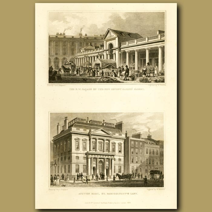 Antique print. The N.W Facade Of The New Covent Garden Market And Auction Mart, St. Bartholomew's Lane