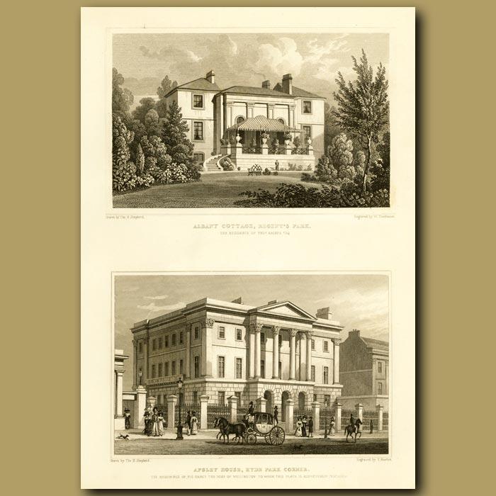 Antique print. Albany Cottage, Regent's Park And Apsley House, Hyde Park Corner