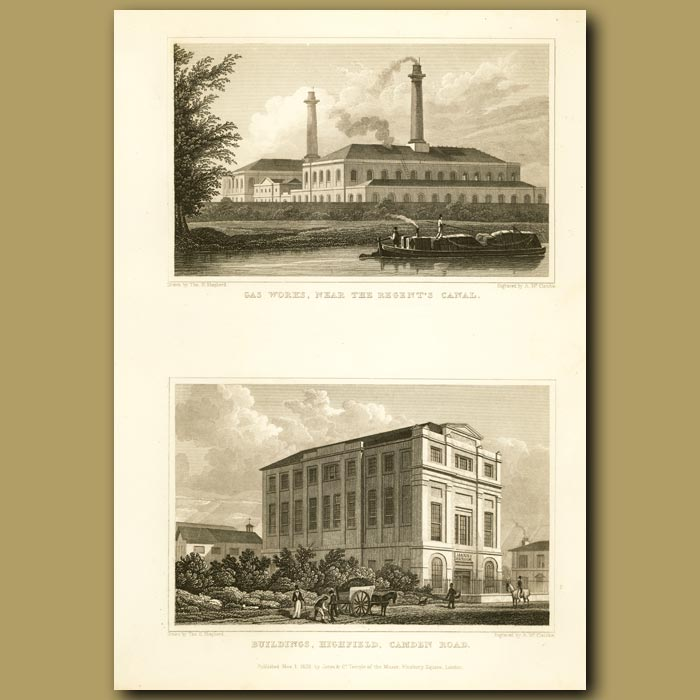 Antique print. Gas Works Near Regent's Canal And Buildings Highfield, Camden Road