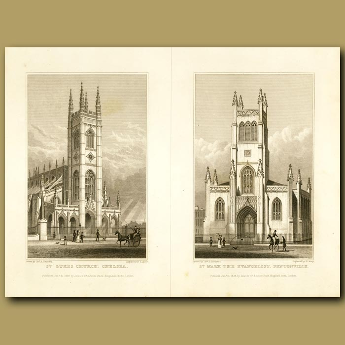 Antique print. St.Luke's Church, Chelsea And St. Mark The Evangalist, Pentonville