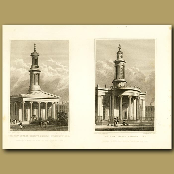 Antique print. The New Church, Regent's Square And The New Church, Camden Town