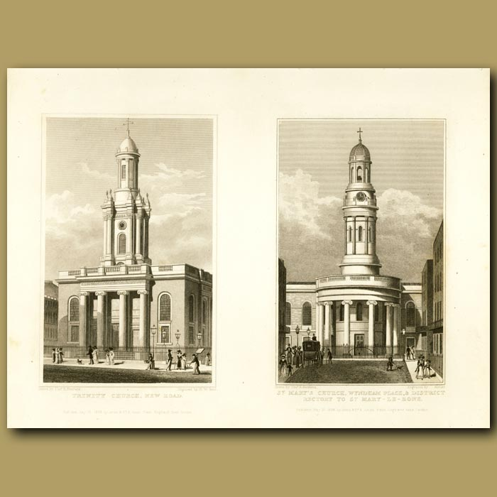 Antique print. Trinity Church, New Road And St. Mary's Church