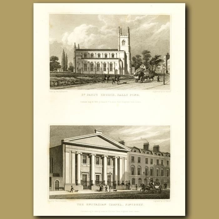 Antique print. St. Paul's Church, Balls Pond And The Unitarian Chapel, Finsbury