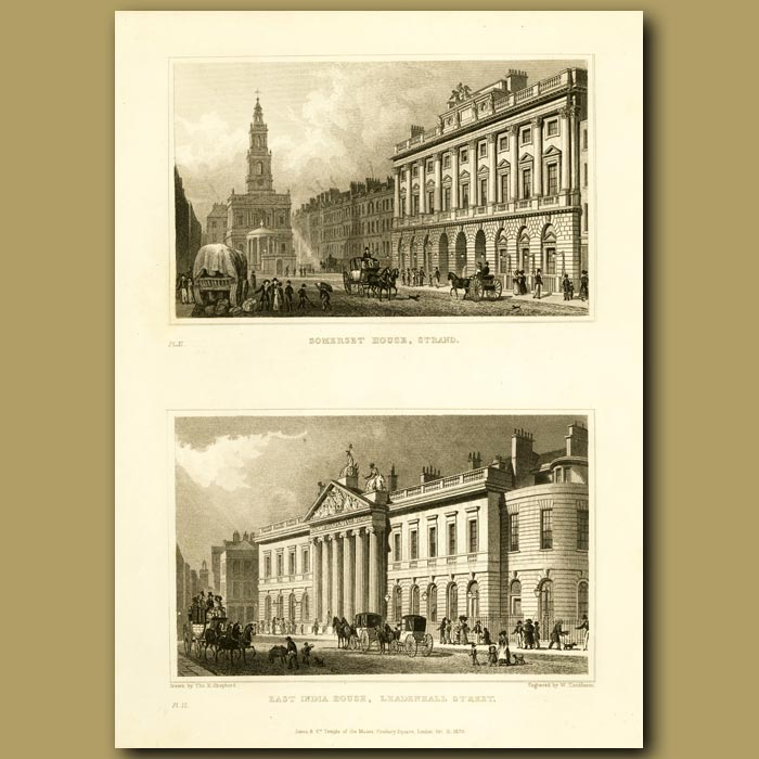 Antique print. Somerset House, Strand And East India House, Leadenhall Street