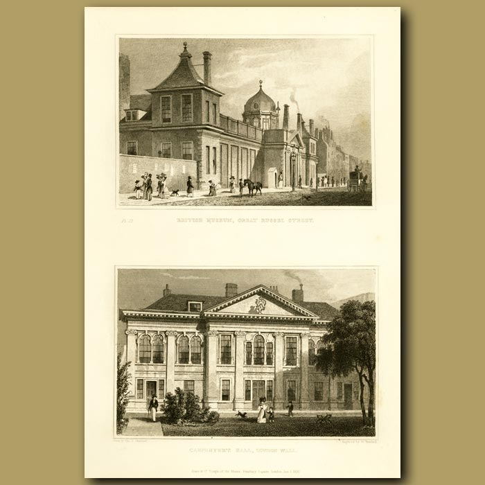 Antique print. British Museum, Great Russel Street And Carpenter's Hall, London Wall