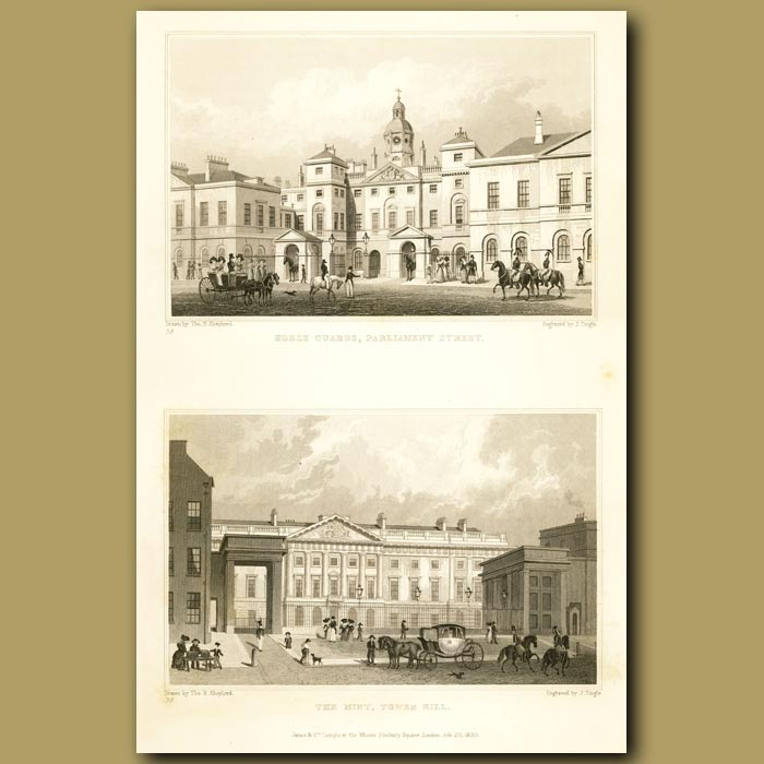 Antique print. Horse Guards, Parliament Street And The Mint, Tower Hill