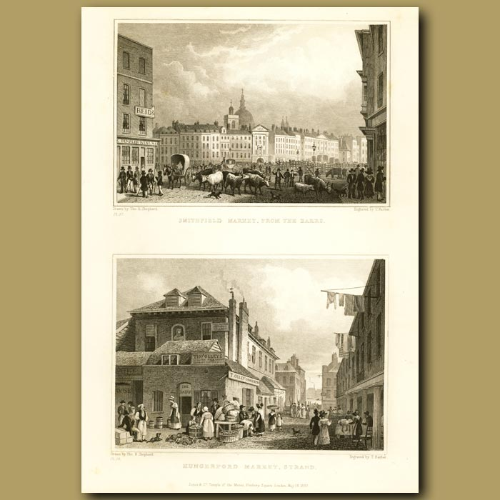 Antique print. Smithfield Market And Hungerford Market, Strand