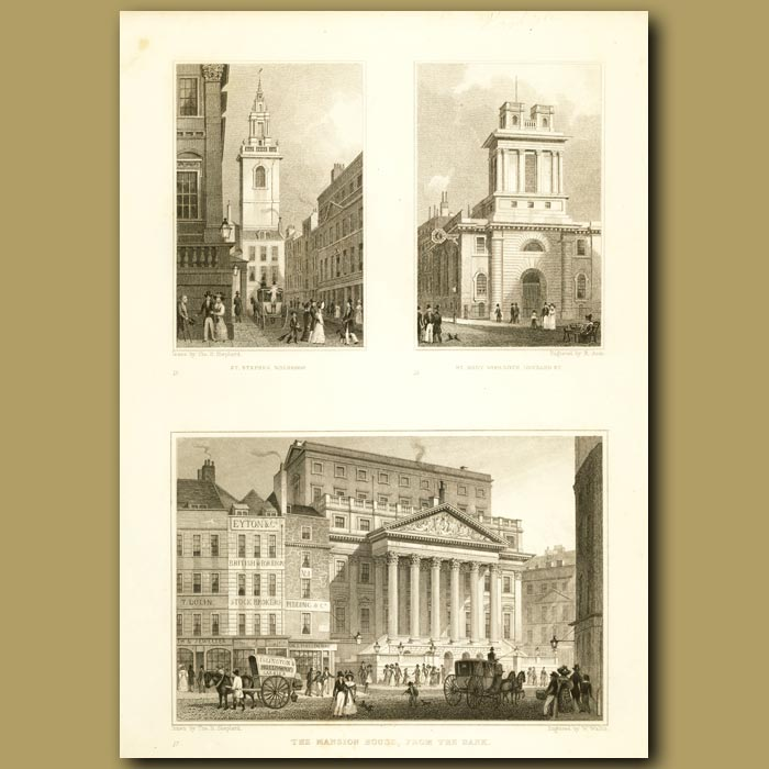 Antique print. St. Stephen, Walbrook, St. Mary Woolnoth, Lombard St And The Mansion House