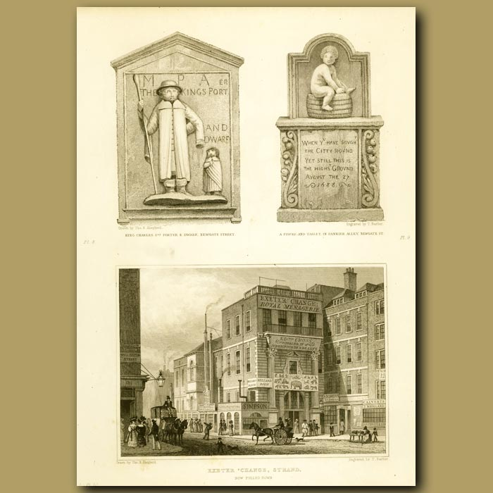 Antique print. King Charles 1st Porter And Dwarf, Figure And Tablet And Exeter' Exchange, Strand