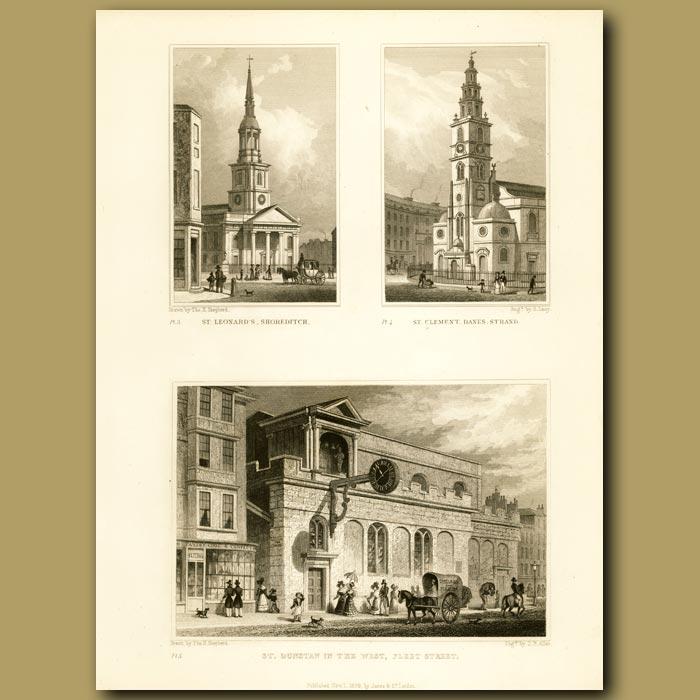 Antique print. St.Leonard's Shoreditch, St.Clement Danes, Strand And St. Dunstan In The West, Fleet Street