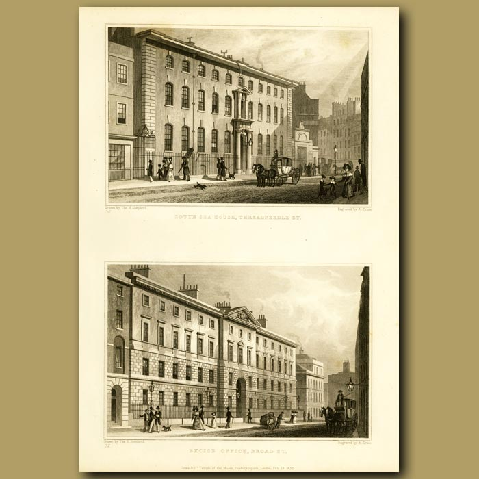 Antique print. South Sea House, Threadneedle St And Excise Office, Broad St
