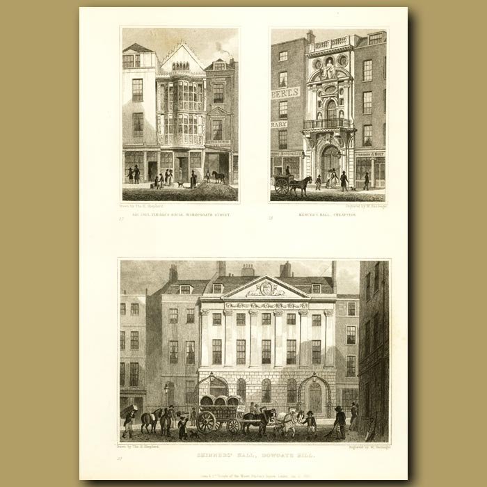 Antique print. Sir Paul Pindar's House, Mercer's Hall And Skinners Hall, Dowgate Hill