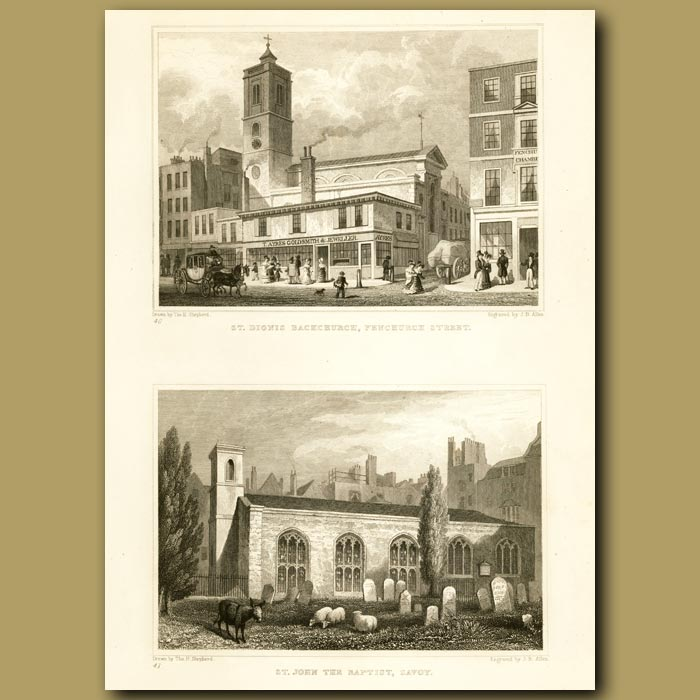 Antique print. St. Dionis Backchurch, Fenchurch St And St. John The Baptist, Savoy