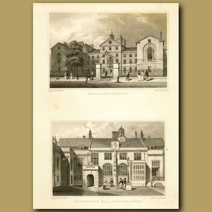 Antique print. Middlesex Hospital And Pensioner's Hall, Charter House