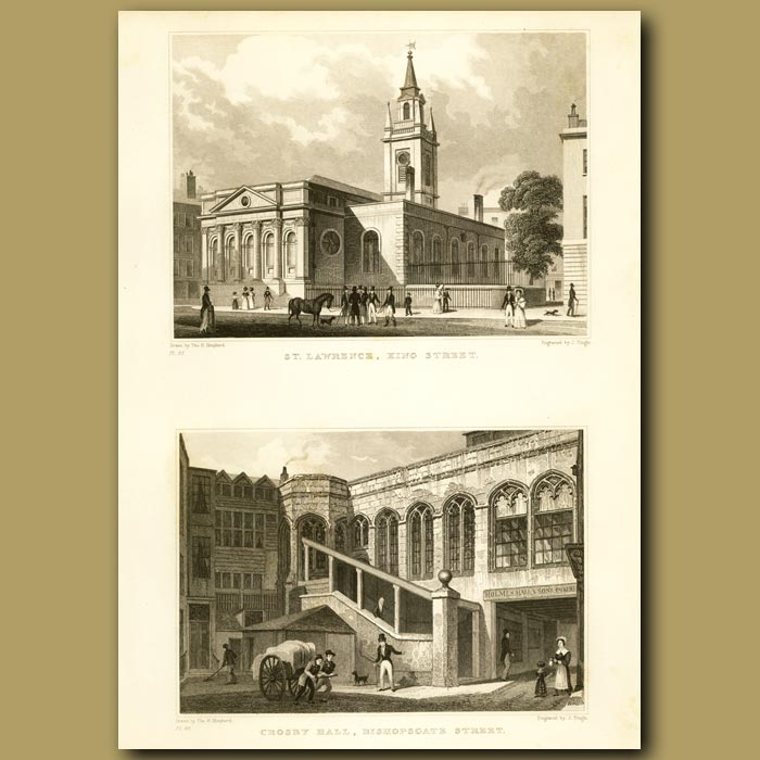Antique print. St. Lawrence, King Street And Crosby Hall, Bishopsgate Street