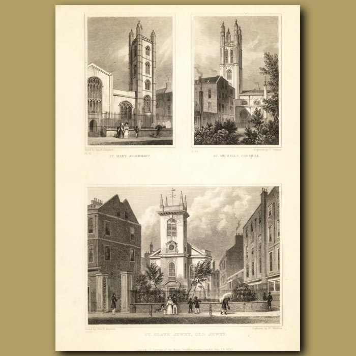Antique print. St Mary Aldermarym St. Michael's Cornhill And St Olave Jewry, Old Jewry