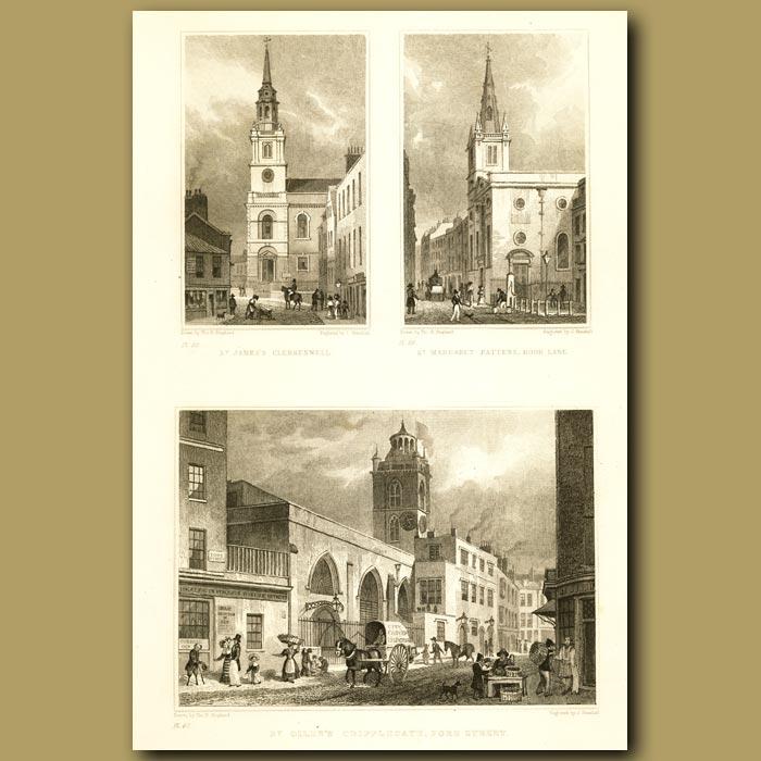Antique print. St James's Clerkenwell, St Margaret Pattens, Rood Lane And St Giles's Cripplegate