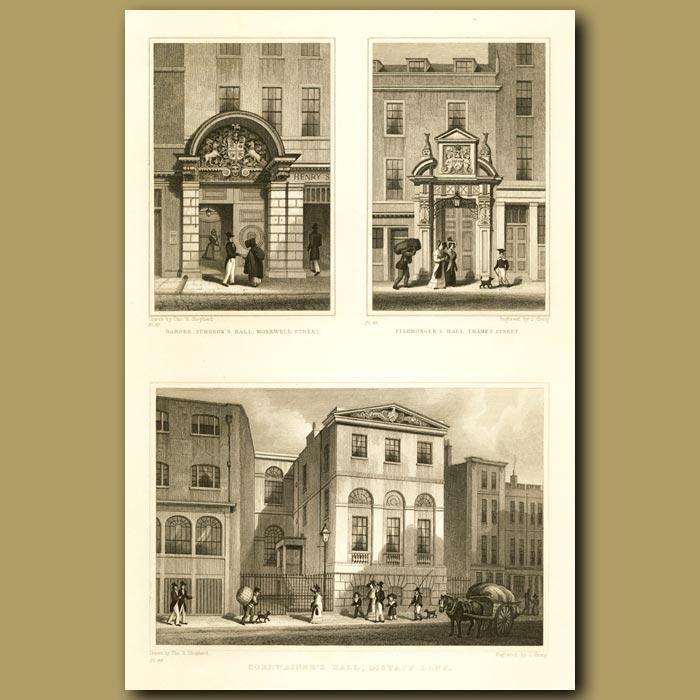 Antique print. Barber Surgeon's Hall, Monkweel St, Fishmonger's Hall, Thames St And Cordwainer's Hall, Distaff Lane