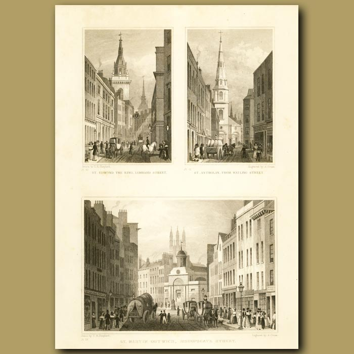 Antique print. St. Edmond The King, Lomard St, St. Antholin From Watling St And St. Martin Outwich, Bishopsgate St