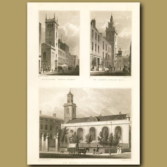 Antique print. Allhallows, Bread St, St.James's Garlick Hill And St. Mary, Aldermanbury