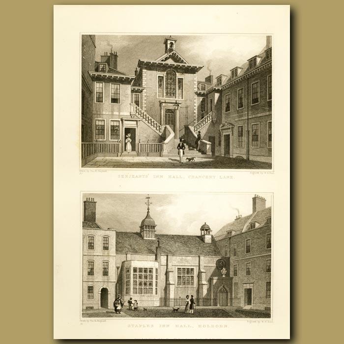 Antique print. Serjeants' Inn Hall, Chancery Lane And Staples Inn Hall, Holborn