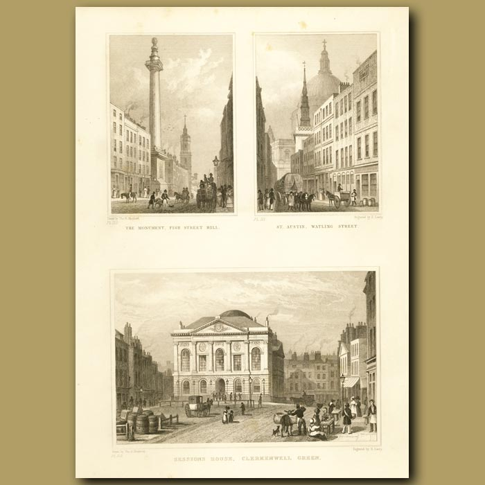 Antique print. The Monument, Fish Street Hill, St. Austin, Watlng Street And Sessiosn House, Clerkenwell Green