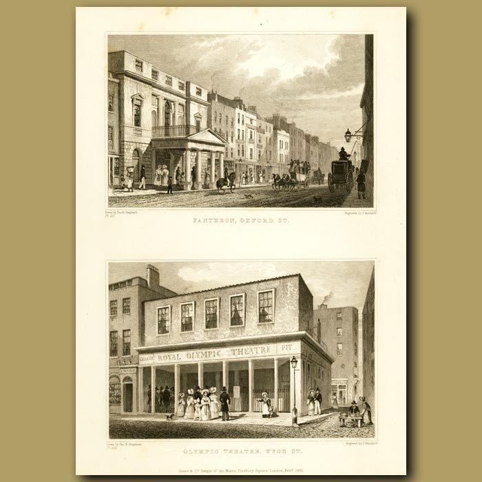Antique print. Pantheon, Oxford Street And Olympic Theatre, Wich St