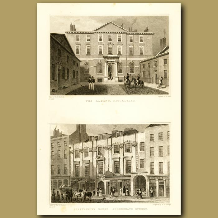 Antique print. The Albany, Piccadilly And Shaftesbury House, Aldersgate Green
