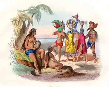 Steel engraving of masked people of the Marquesas